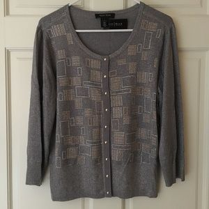 WHBM Cardigan (Size L) Gray Embellished Front